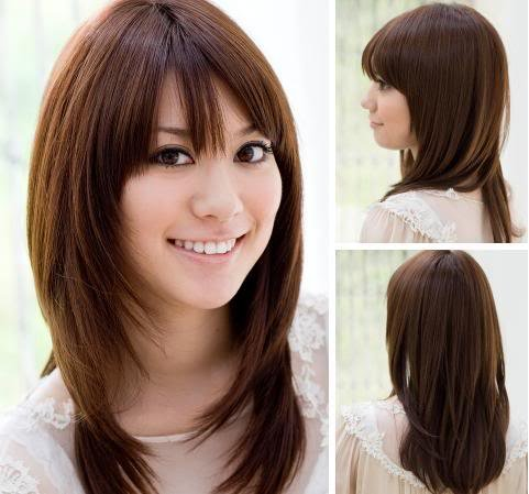 Long Hair With Side Bangs And Long Layers Hair Layered Cut Long
